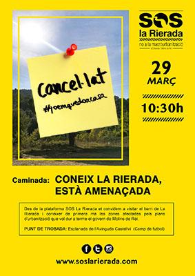 CARTELL SOS LA RIERADA CAMINADES març cancellat petit